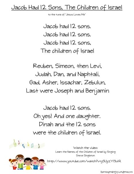 jacob had 12 sons- song