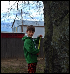 I think he would live outside if I would let him!  Here he is planning a tree house at 6 am in his pjs!