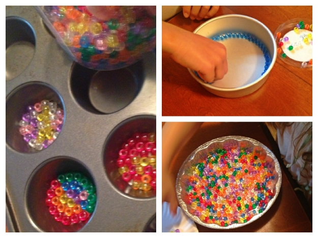 pony beads in pans
