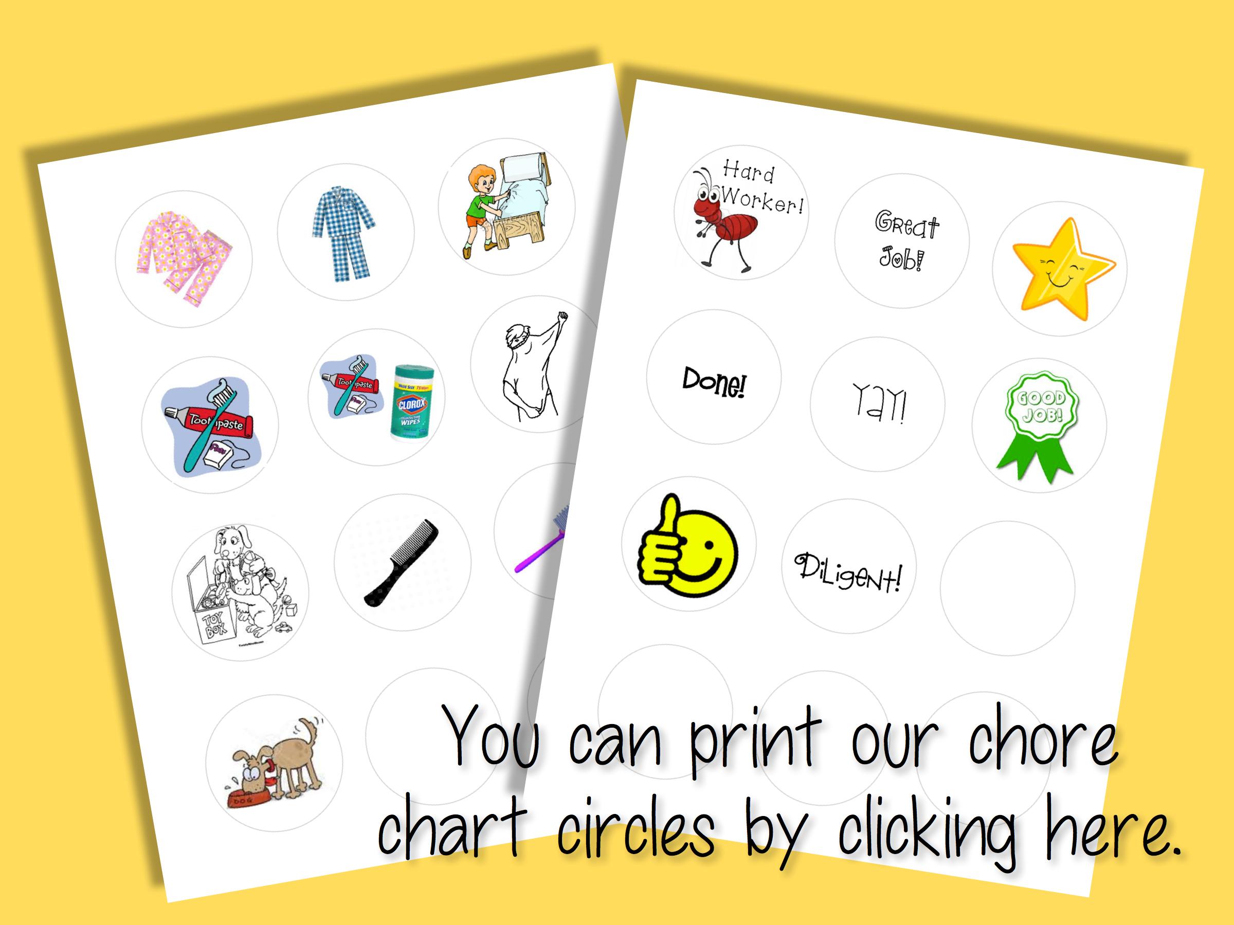 Free printable chore chart icons
