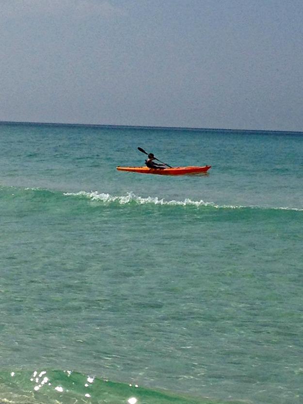 We had ocean kayaks during our beach trip.  Leven had a blast!